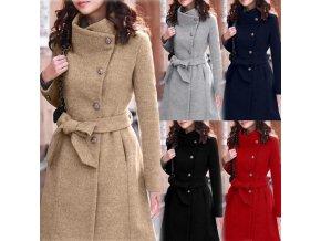 Dámsky zimný vlnený kabát previazaný opaskom - 3 farby až 4XL