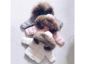 Detská teplá zimná bunda s bohatým kožušinkou - 2 farby