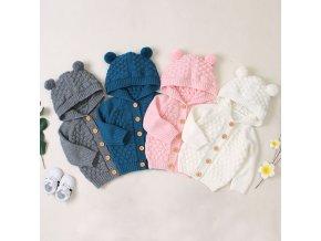 Detský pletený svetrík s kapucňou - 4 farby