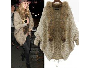Dámsky luxusný sveter s kožušinou