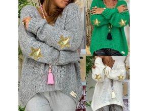 Zimný hrejivý sveter s hviezdičkami na lakťoch