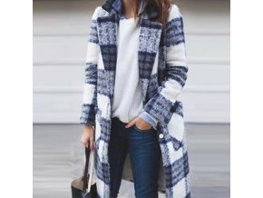 Dámsky zimný zaujímavý károvaný kabát