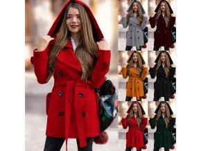 Dámsky zimný vlnený kabát s kapucňou - 6 farieb
