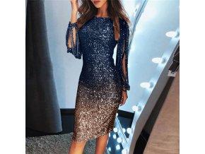 Luxusné trblietavé Ombré spoločenské šaty