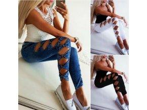 HOT dámske skinny džínsy s mašličkami - čierna, biela, modrá