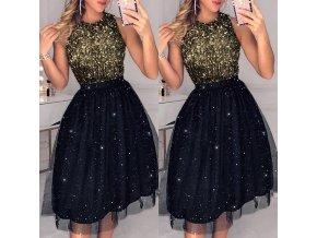 Dámske luxusné plesové šaty s flitrami (Velikost L)