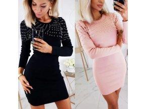 Dámske pletené šaty s perličkami