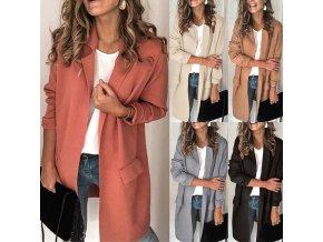 Dámsky jarný ležérny kabátik s vreckami - 5 farieb až 3XL