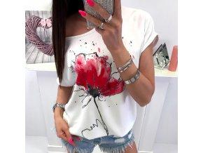 Dámske biele oversize tričko s aplikáciou