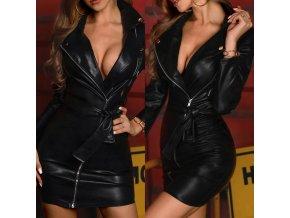 Dámsky luxusný kožený kabát s opaskom - krivák