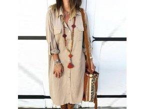 Dámske dlhé oversize košeľové šaty - až 5XL