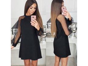 Krásne čierne šaty s priehľadnými rukávmi