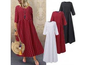 Dlhé bodkované šaty - až 4XL