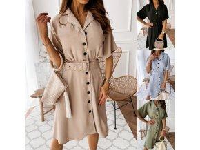 Luxusné dámske šaty s gombíkmi a veľkým pásikom - 4 farby