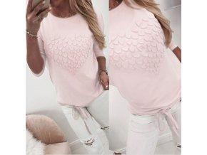 Dámska ružové tričko so srdcom a šnurovaním