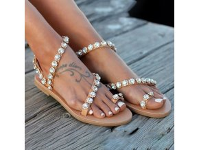 Krásne letné remienkové sandále zdobené kamienkami