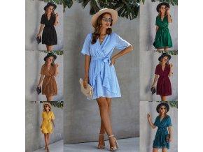 Luxusné letné šaty s volánikmi na zaväzovanie - veľa farieb