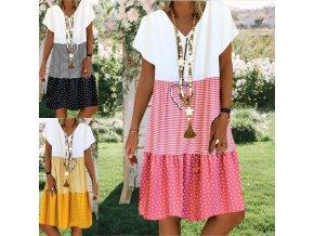 Krásne prechodové šaty s prúžkami a bodkami - až 5XL