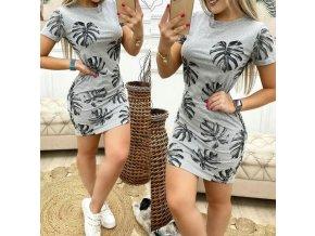 Upnuté bavlnené šaty s potlačou listov v šedej farbe