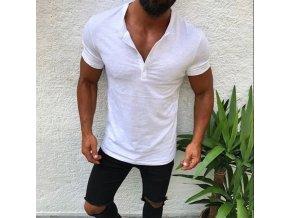 Pánske jednofarebné tričko s gombíkmi