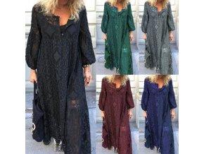 Maxi šaty s dlhým rukávom vo viacerých farbách - až 5XL