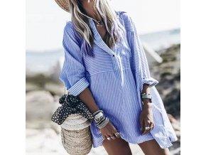 Mini košeľové prúžkované šaty - až 5XL