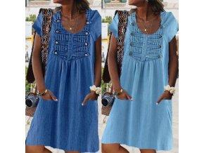 Letné šaty v džínsovom štýle so zdobením a vreckami