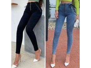 TOP slim džínsy s vysokým pásom zdobený šnurovaním a zipsom