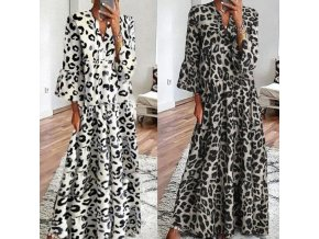 Maxi šaty s leopardím vzorom a dlhým rukávom