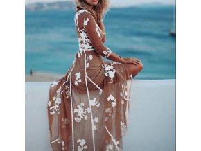 Maxi letné šaty ideálne k pláži s vyšívanými kvetinami - až 4XL