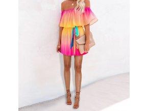 Letné krátke dúhové šaty so spadnutými ramenami