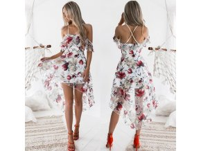 Luxusné šaty na ramienka s potlačou kvetín