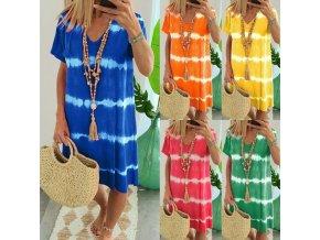 Šaty v batikovanom štýle vo viacerých farbách - až 5XL