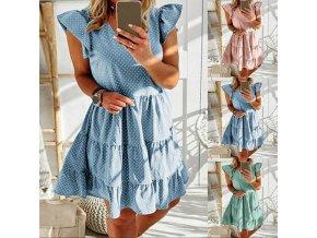 Letné polka skladané šaty s volánikmi - veľmi príjemný materiál