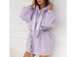 Módny hit - mikinové fialové šaty s kapucňou