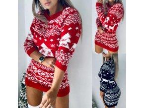 Zimné pletené šaty s dlhým rukávom s vianočným motívom