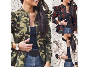 Módna jesenná bunda s volánikmi na ramenách - viac vzorov