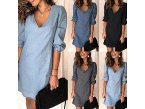 Letné šaty v džínsovom štýle s výstrihom do V - veľmi pohodlné - až 3XL