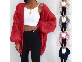 Voľný pletený sveter v štýle kardigan - viac farieb