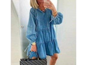 Elegantné dámske džínsové šaty s dlhým rukávom - pohodlný a príjemný materiál