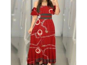 Dámske dlhé elegantné šaty so spadnutými ramenami a potlačou retiazok