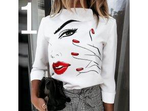 Dámske tričko s dlhým rukávom a rolákom s potlačou dámskeho tváre 1