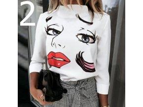 Dámske tričko s dlhým rukávom a rolákom s potlačou dámskeho tváre 2