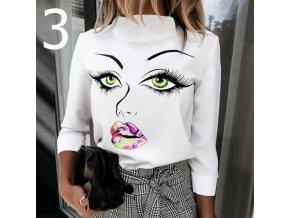 Dámske tričko s dlhým rukávom a rolákom s potlačou dámskeho tváre 3