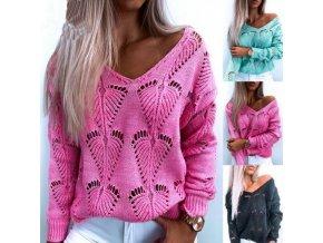 Módny dámsky pletený sveter s hlbokým výstrihom a s dierovaným dizajnom