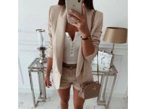 módny hit - dámske jednofarebné pohodlné sako s vreckami