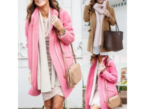 Zimný teplý kabát na zips s vreckami - príjemný materiál