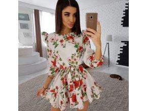 Módne volánikové šaty s potlačou kvetín na zaväzovanie