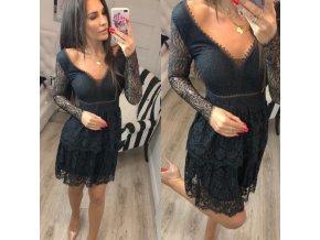 Čierne čipkované elegantné šaty s dlhým rukávom - vhodné na ples
