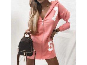 Krásne ružové mikinové šaty s kapucňou na zips - pohodlný materiál